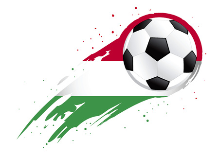 brush strokes: Vector illustration of a soccer ball with abstract Hungary insignia brush strokes
