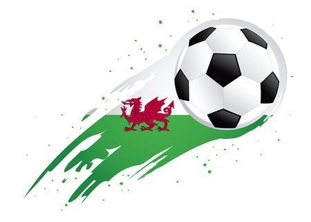 wales: Vector illustration of a soccer ball with abstract Wales insignia brush strokes Illustration