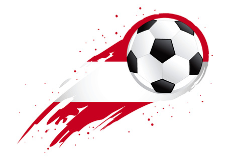 Vector illustration of a soccer ball with abstract Austria insignia brush strokes