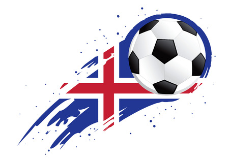 brush strokes: Vector illustration of a soccer ball with abstract Iceland insignia brush strokes