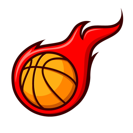 basket ball: Vector stock of basket ball with flames sign symbol