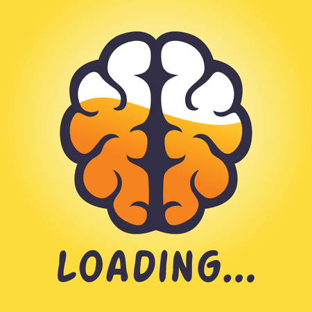 half full: Vector stock of human brain thinking progress, half full concept