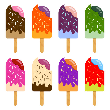 flavor: Vector stock of ice cream collection with sprinkles in different colors and flavor