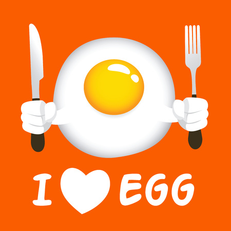 sunny side up: Vector stock of fried egg sunny side up, holding knife and fork