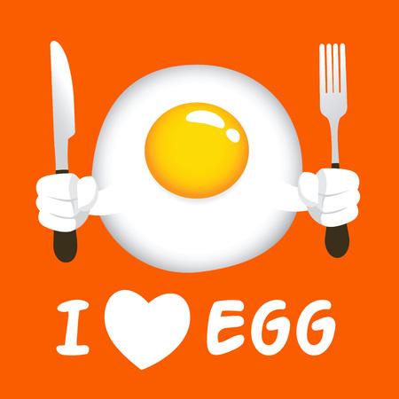Vector stock of fried egg sunny side up, holding knife and fork Imagens - 58741419