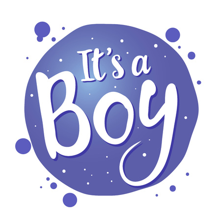 its a boy: Vector stock of newborn baby greetings saying its a boy, handwritten lettering