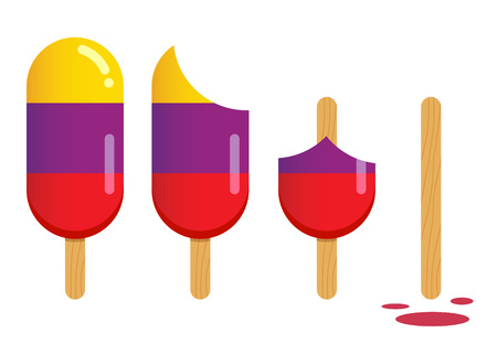 Vector stock of ice cream in different stages of eating Ilustração