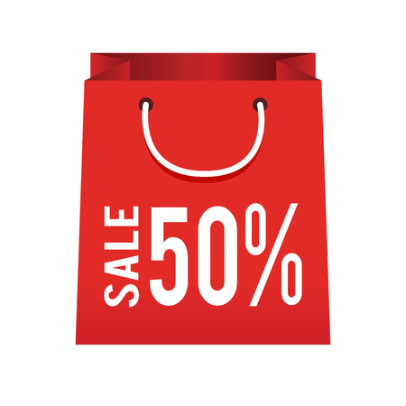 bag icon: Vector stock of shopping bag icon with sale and discount sign Illustration