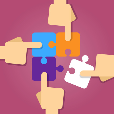 four hands: Vector stock of four hands putting puzzle pieces together, teamwork concept Illustration