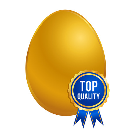 golden egg: Vector stock of shiny golden egg with top quality ribbon, seal or brand