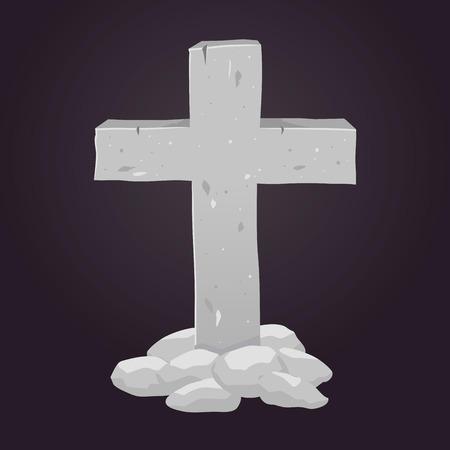stone tombstone: Vector stock of cross made from stone, tombstone symbol Illustration