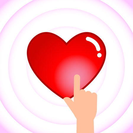 touching: Vector stock of hand touching heart shaped icon, love symbol Illustration