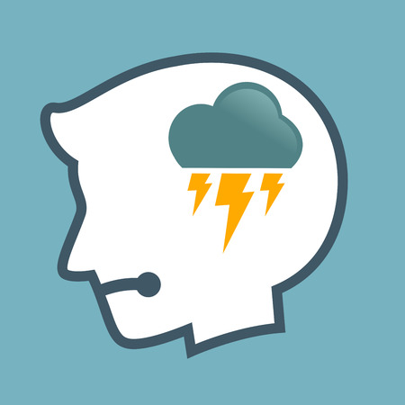 thunder cloud: Vector stock of human head silhouette with thunder cloud symbol inside