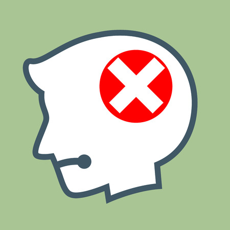 canceled: Vector stock of human head silhouette with wrong cross symbol inside