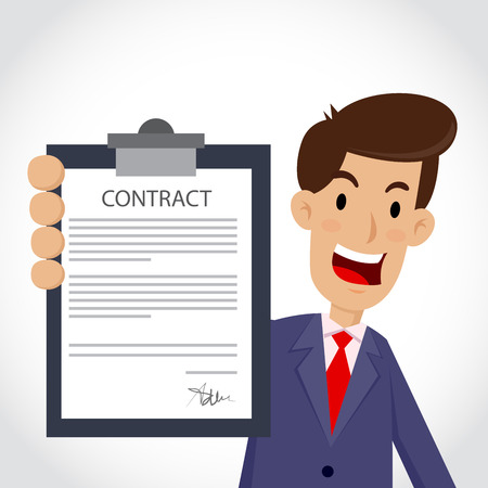 business contract: Vector stock of businessman holding business contract and agreement paper