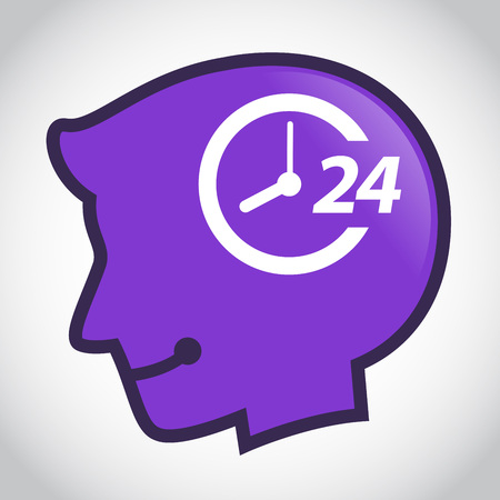 twenty four hours: Vector stock of human head silhouette with 24 hour non stop symbol inside