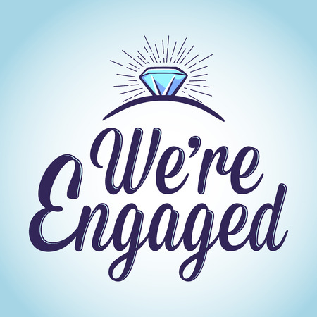 engaged: Vector stock of we are engaged with ring typography art
