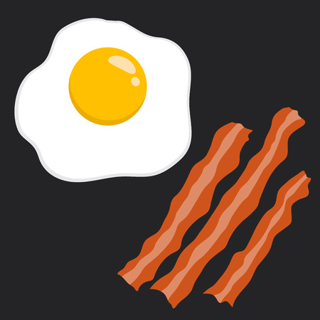 sunny side up eggs: Vector stock of egg and bacon delicious breakfast food