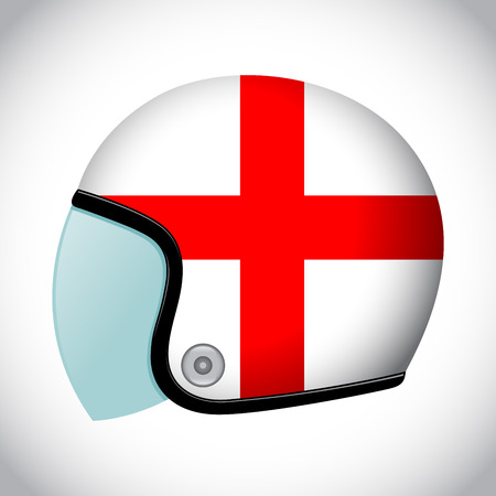 karting: Vector stock of retro classic motorcycle helmet with England flag