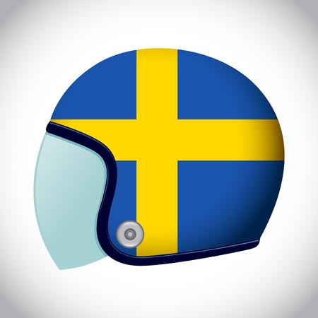 sweden flag: Vector stock of retro classic motorcycle helmet with Sweden flag