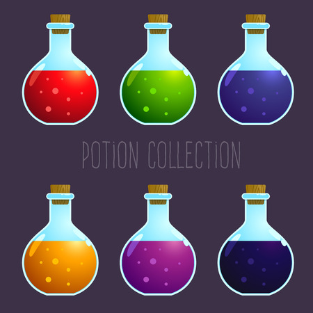 potion: stock of colorful potion elixir bottles collection