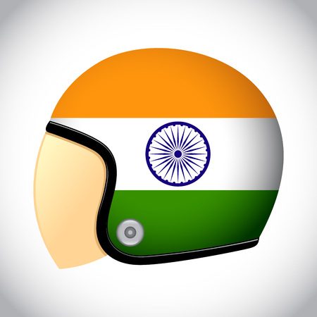 karting: stock of retro classic motorcycle helmet with India flag Illustration