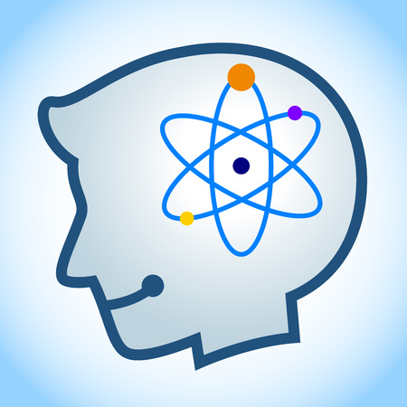 human energy: stock of human head silhouette with energy atom symbol inside Illustration
