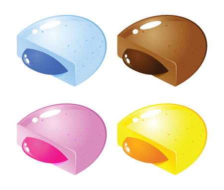 fruity: stock of colorful candy with fruity jelly or syrup filling inside Illustration