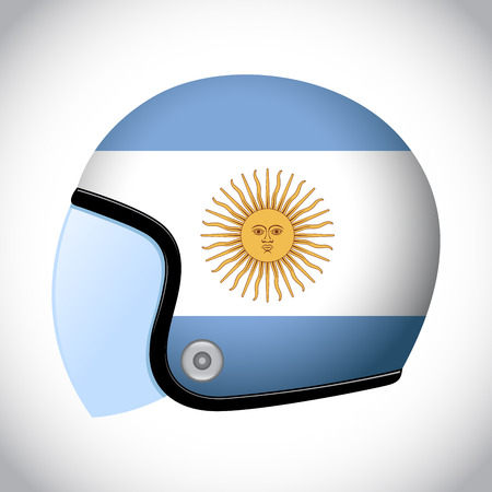 bandera de argentina: stock of retro classic motorcycle helmet with Argentina flag