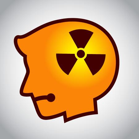 hazard symbol: stock of human head silhouette with hazard symbol inside