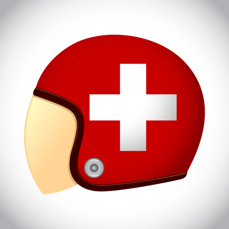 switzerland flag: stock of retro classic motorcycle helmet with Switzerland flag