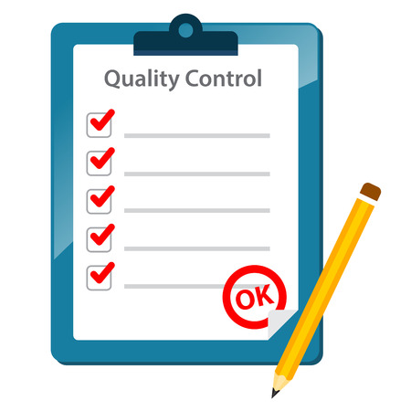 quality check: Vector stock of quality control check list paper with pencil on clipboard Illustration