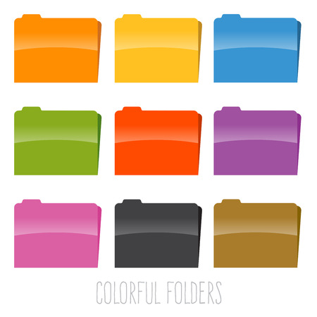 stock of colorful document file folders in various color