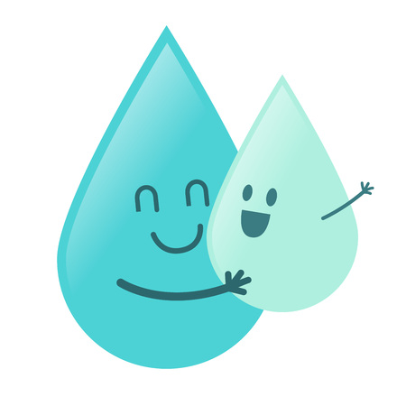 stock of water droplet character hugging baby water droplet Ilustração