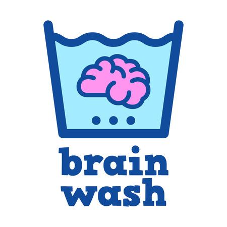 Vector stock van een brein geweekt in water, hersenspoeling
