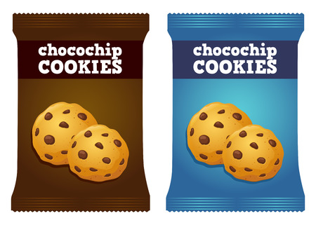 chocolate cookie: Vector stock of chocolate chip cookies snack packaging template Illustration