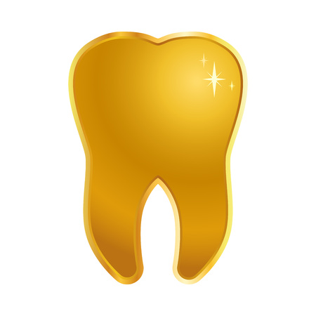 Vector stock of shiny golden tooth