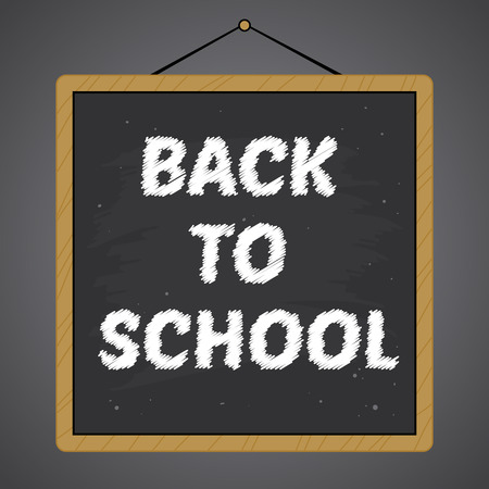 Vector stock of square black chalkboard with back to school text