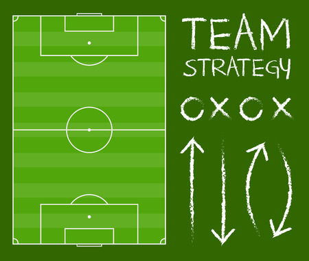 Vector stock of soccer field with team playing strategy chart