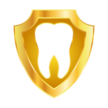 Vector stock of tooth on shiny golden metal shield