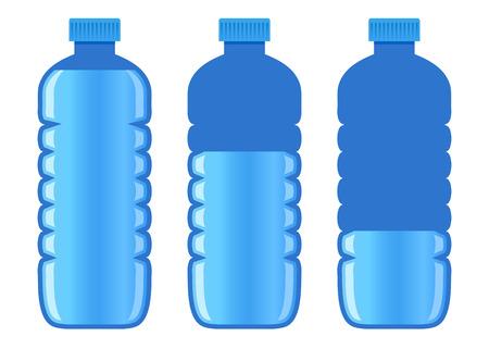 Vector stock d'une bouteille en plastique de trois de l'eau avec un niveau d'eau différent