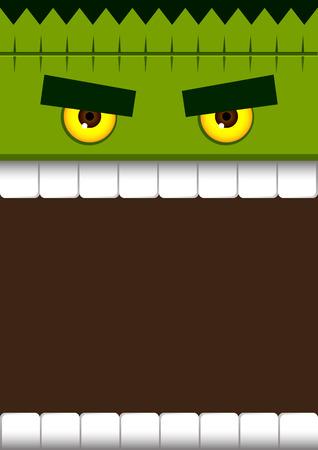 villain: Vector stock of frankenstein monster face for halloween poster background