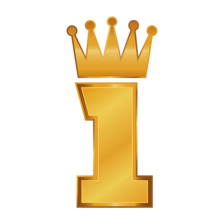 Vector stock of golden number one with crown on top Illustration