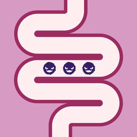 Vector stock van de darm met bacteriën of ziektekiemen binnen