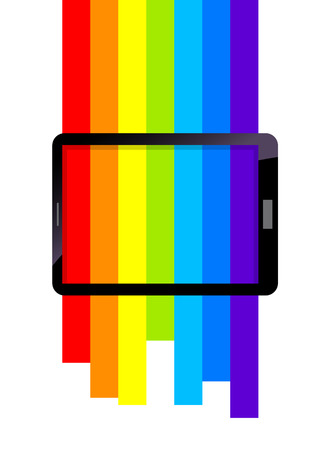 Vector stock of rainbow color on tablet display screen