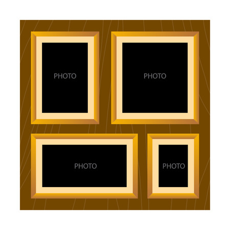 all in: Vector stock of wooden textured all in one photo frame template Illustration