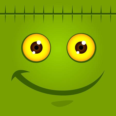 Vector stock of green monster face for halloween background Illustration