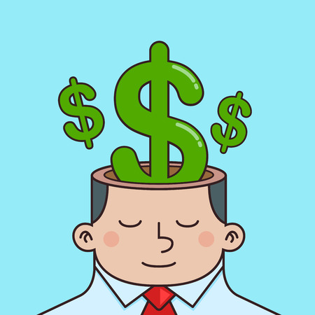 Vector stock of money sign inside businessman head, thinking about money Illustration