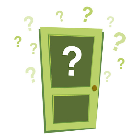 Vector stock of closed mysterious door with question mark sign