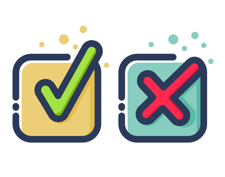 Foto de colorido marca de verificación icono moderno plana